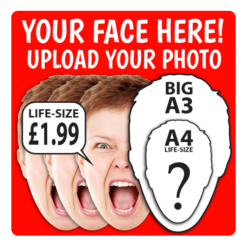Personalised Face Masks : LIFE-SIZE Upload your PHOTO!