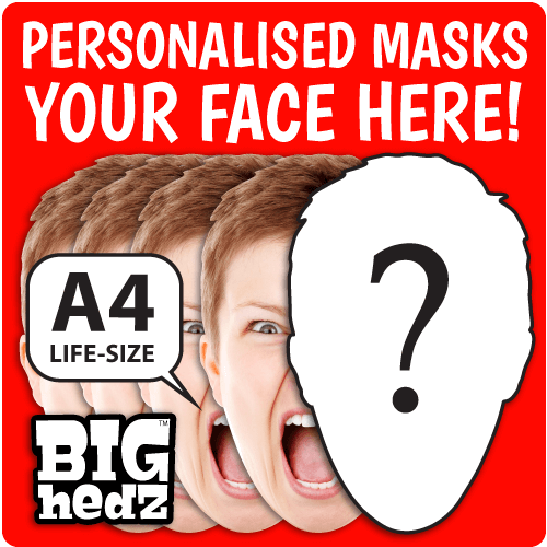 5 x Personalised Face Masks : LIFE-SIZE