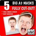 5 Pack BIG A3 sized Personalised Card Face Masks