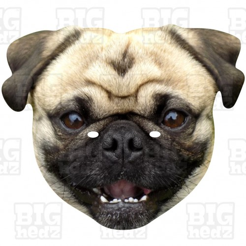 PUG DOG : Life-size Card Face Mask