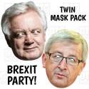 David Davis + Jean-Claude Juncker : TWIN-PACK BIG A3 Size Card Face Masks