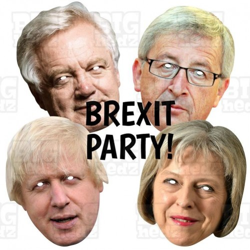 BREXIT PARTY 4 Mask Pack : David Davis + Jean-Claude Juncker + May + Boris : 4 MASK PACK Life-size Face Masks