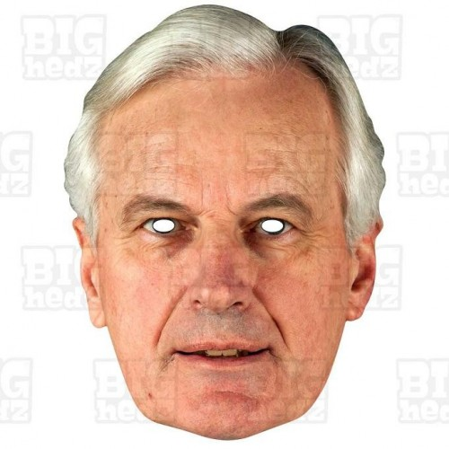 MICHEL BARNIER : Life-size Card Face Mask - BREXIT fancy dress party Juncker