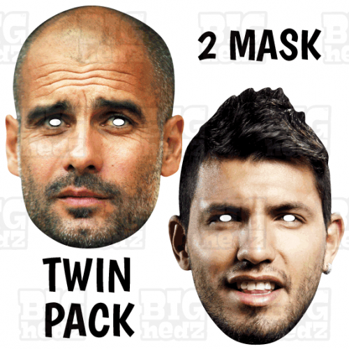 SERGIO AGUERO + PEP GUARDIOLA : BIG A3 Size TWIN-PACK Face Masks