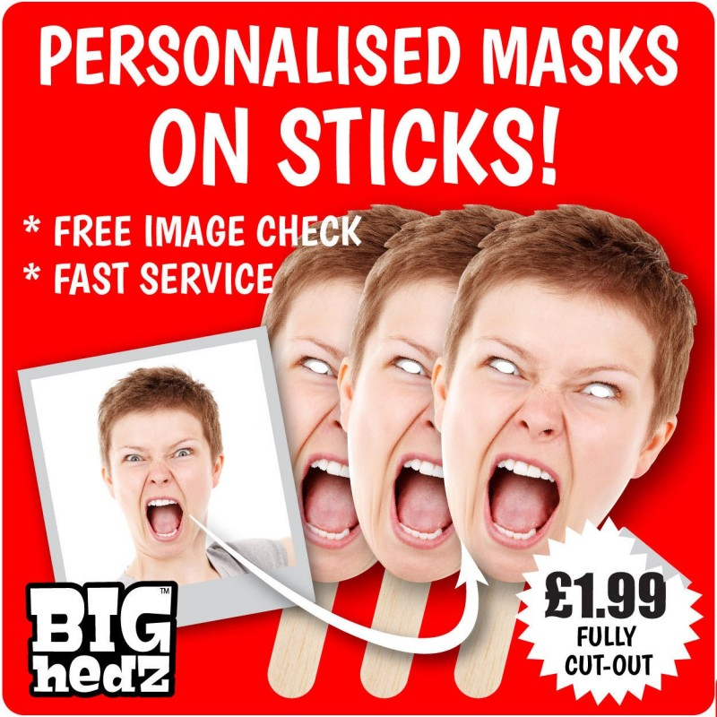 18 CHEAP Self Cut Face Masks ON STICKS Personalised customised Hen Stag Parties
