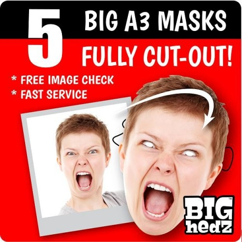 5 x BIG A3 Size Personalised Face Masks!