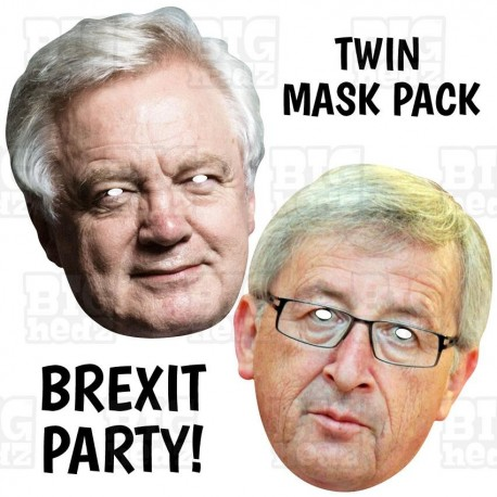 David Davis + Jean-Claude Juncker : TWIN-PACK BIG A3 Size Card Face Masks