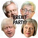 David Davis + Jean-Claude Juncker + Boris Johnson + Theresa May : 4 Mask Pack BIG A3 Size Card Face Masks