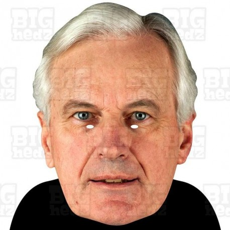 MICHEL BARNIER : BIG A3 Size Card Face Mask - BREXIT Party Juncker May Boris Guy Fawkes