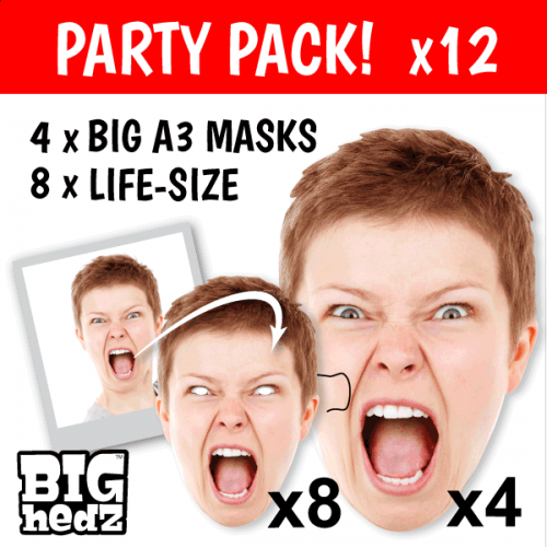 PARTY PACK - 4x BIG A3 + 8x Life-size Personalised Face Masks!