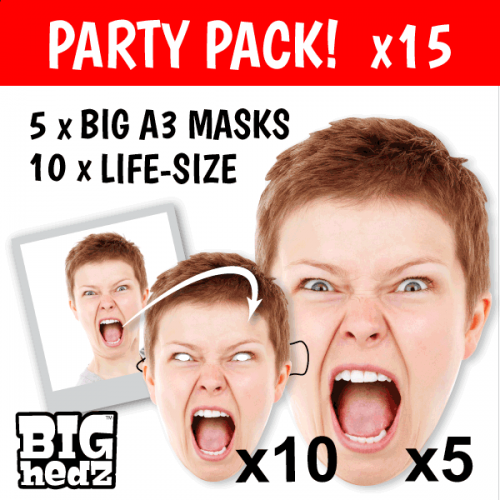 PARTY PACK - 5x BIG A3 + 10x Life-size Personalised Card Face Masks!