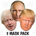 Trump + Putin + Boris : 3 MASK PACK Life-size Card Face Masks