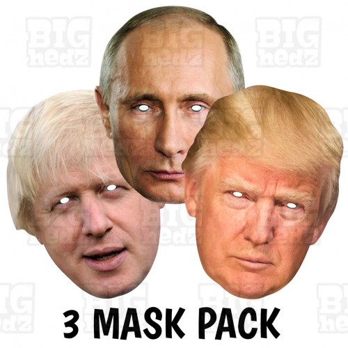 TRUMP + PUTIN + BORIS : BIG A3 Size Triple Pack Card Face Masks
