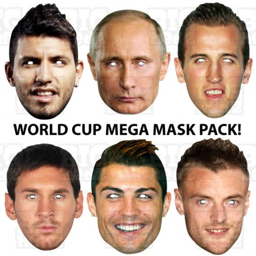 "WORLD CUP x6 BIG ""A3"" Sized Card FaceMask Pack : HARRY KANE + LIONEL MESSI + CRISTIANO RONALDO + JAMIE VARDY + AGUERO + PUTIN"