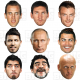 WORLD CUP 9 Mask Pack : KANE + MESSI + RONALDO + VARDY + AGUERO + PUTIN + MARADONNA + SUAREZ + CALLINALife-size Face Masks