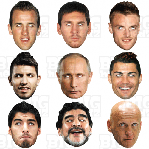 WORLD CUP 9 Mask Pack : KANE,MESSI,RONALDO,VARDY,AGUERO,PUTIN Life-size Face Masks