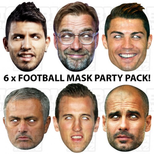 Kid's Party 6 Mask Pack : KANE + RONALDO + AGUERO + PEP + KLOPP + MOURINHO Face Masks