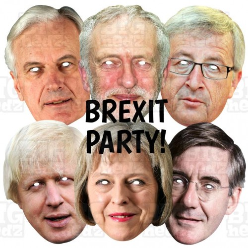 Theresa May + Jean-Claude Juncker + Jacob Rees-Mogg + Boris + Corbyn : 4 MASK PACK Life-size Card Face Masks