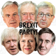 BREXIT PARTY x6 Mask Pack : Theresa May + Jean-Claude Juncker + Rees-Mogg + Boris + Barnier + Corbyn : BIG A3 size Face Masks