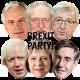 BREXIT PARTY x6 Mask Pack : Theresa May + Jean-Claude Juncker + Rees-Mogg + Boris + Barnier + Corbyn : BIG A3 size Face Masks