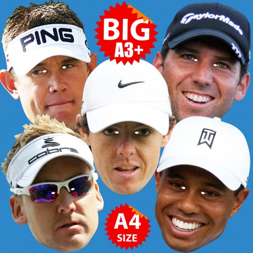 Golfing Greats 5 Mask Pack: Tiger Woods, Sergio Garcia, Rory McIlroy, Lee Westwood, Ian Poulter.