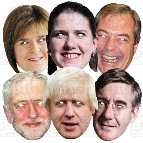 GENERAL ELECTION 6 Mask Pack : Boris + Corbyn + J Rees-Mogg + Jo Swinson + N Farage + N Sturgeon : Life-size Face Masks