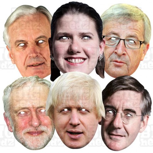 GENERAL ELECTION 6 Mask Pack: Boris Johnson + Jacob Rees-Mogg + Jeremy Corbyn + Jo Swinson + Nigel Farage + Nicola Sturgeon, Lif