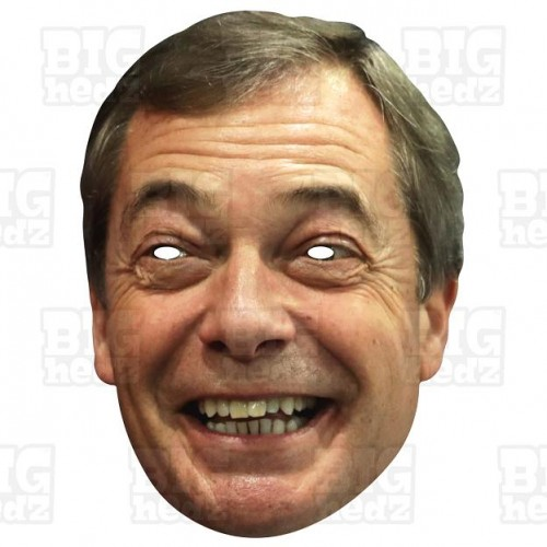 NIGEL FARAGE : Life-size Card Face Mask BREXIT General Election