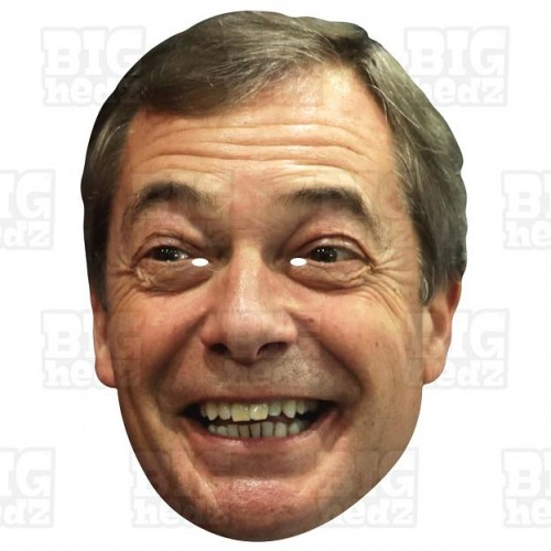 NIGEL FARAGE : GIANT A3 Size card face mask. BREXIT Party election.