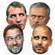 Football Managers : 4 Mask Pack Pep Guardiola, Jurgen Klopp, Brendan Rodgers, Jose Mourinho, card face masks.