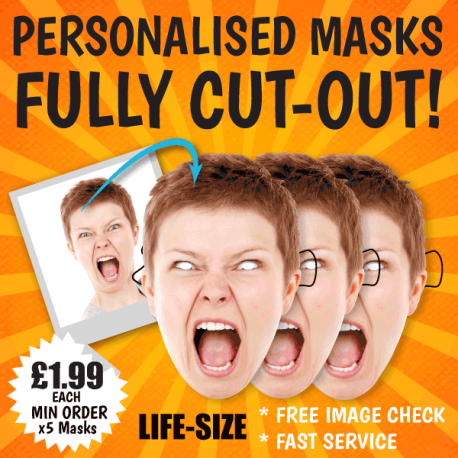Life-size Personalised Masks made from your uploaded image. Card face masks for fancy dress.