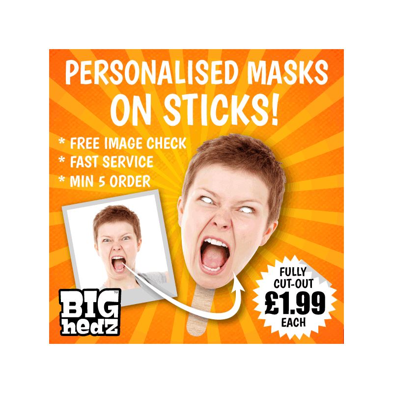 9 x Personalised Create Your Own DIY Photo Face Masks Custom Party Photo Masks