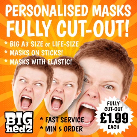 Hen Party Personalised Face Masks on STICKS or elastic. Upload your photo and we will create your masks!
