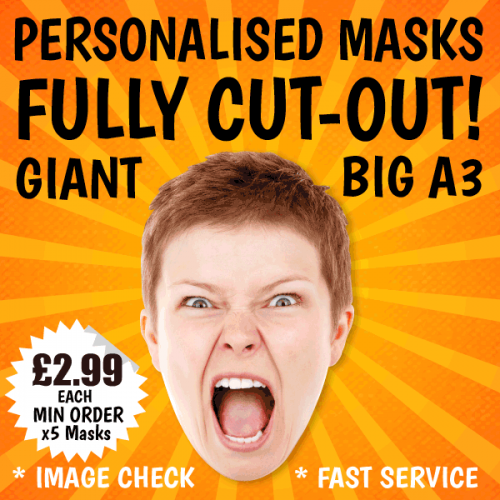 BIG A3 sized personalised card masks of your chosen image.