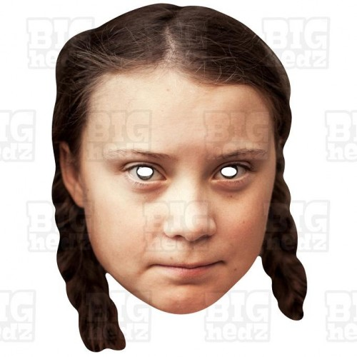 Greta Thunberg card face mask of the Swedish environmental activist.