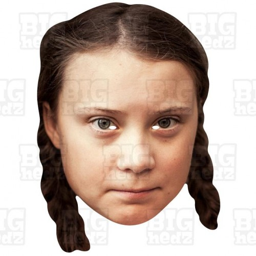 Greta Thunberg big a3 sized card face mask of the Swedish environmental activist.