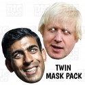 Boris Johnson + Rishi Sunak : TWIN-PACK Life-size Card Face Masks