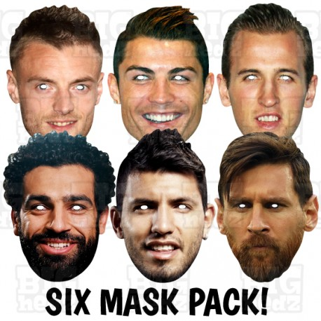 SUPER STRIKERS 6 Card Face Masks. Lionel Messi, Cristiano Ronaldo, Mo Salah, Harry Kane, Jamie Vardy.