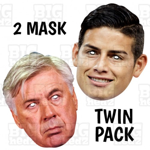 JAMES RODRIGUEZ + CARLO ANCELOTTI : Football Striker Midfielder Everton Manager and Columbia Card Face Mask