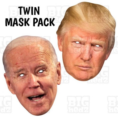 No FAKE NEWS, Donald Trump and Joe Biden : TWIN-PACK Life-size Card Face Masks