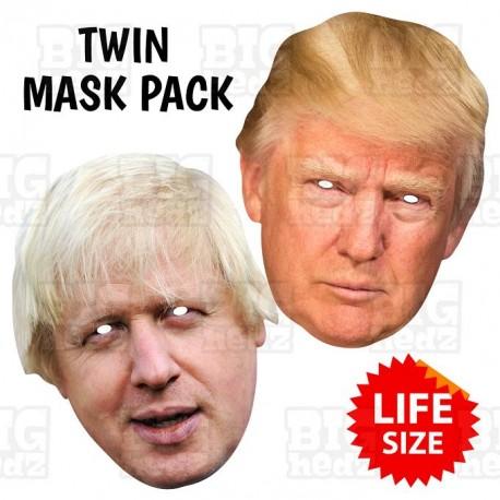 Boris Johnson and Donald Trump : TWIN-PACK Life-size Card Face Masks