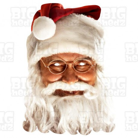 FATHER CHRISTMAS SANTA CLAUS card face mask wih an elastic strap attached.