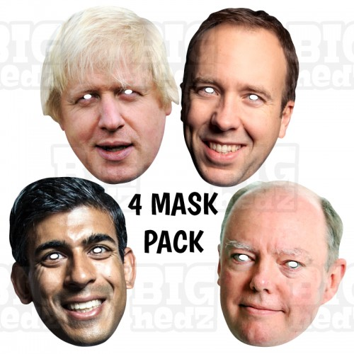 Boris +Chris Whitty + Rishi Sunak + Matt Hancock : 4 MASK PACK